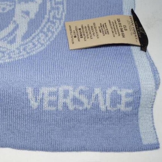 VERSACE Medusa Head Blue Wool Long Scarf