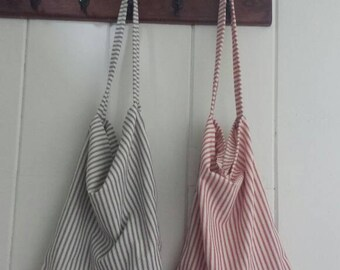 Reusable grocery bag, farmers market bag, tote bag, striped tote, produce bag, reusable produce bag, ticking market bag, ticking tote, tote