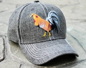 97498e7239110 Cock Fight Rooster Embroidered Mid-Profile Adjustable Baseball Cap with  Snapback Closure and Contrast Color Stitching