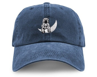 adec575bc7b Man on the Moon Embroidered logo Pigment Dyed Cotton Washed Adjustable  Baseball Dad Cap Hat - Makes a Great Gift - One Size Fits Most