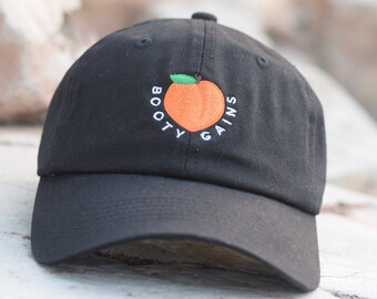 Booty Gains Peach Emoji Gym Fitness Embroidered 100% Cotton 6 Panel  Adjustable Baseball Dad Cap Hat - 2 Colors Available - New cf15e337a0f