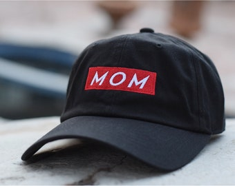 MOM Red Box Embroidered Premium 100% Cotton 6 Panel Adjustable Baseball Dad  Cap Hat - Brand New Style - Many Colors Available - Mom Gift 5f76fd0b1046