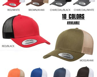 ddeaf791 FlexFit Two Tone Trucker Hat Mesh Back and Pre-Curved Bill Adjustable Snap  Back Strap- 10 Colors Available- Men and Women- One Size Fits All
