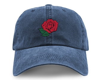 a64be8a15084f Red Rose Embroidered Adjustable Pigment Dyed Cotton Washed Baseball Dad Cap  - Many Colors Available - One Size Fits Most