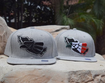 661908feb5d Mexico Eagle Colored 3D Embroidered Flatbill Adjustable Gray Baseball Snapback  Cap - 2 Colors - FREE SHIPPING.