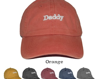 72b7c3d6639 Daddy 3D Puff Embroidered adjustable pigment dyed 100% Cotton baseball dad  cap