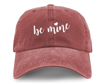 4dac8067551 Be Mine Embroidered Valentines Day Pigment Dyed Cotton Washed Adjustable Baseball  Dad Cap Hat for Him and Her - Brand New - Gift - 4 Colors