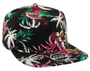 Hawaiian Palm Tree and Leaf Pattern Cotton Twill Flat Visor 6 Panel Summer Pro Style Snapback Hat For Men and Women - Brand New