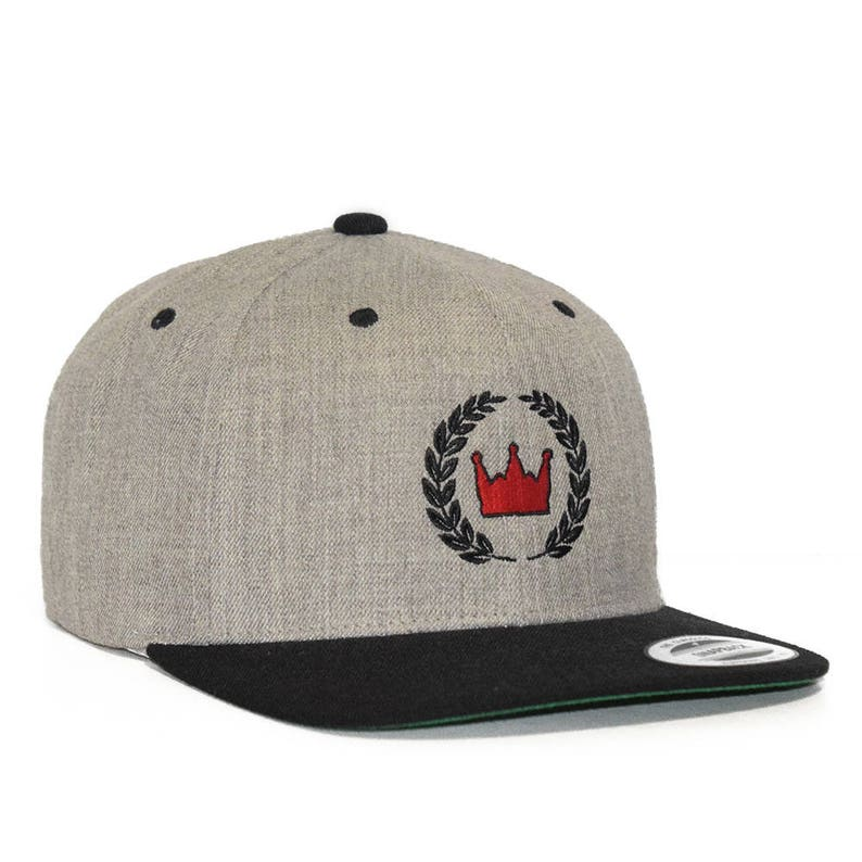 3f89f7512 Crown and Leaf Embroidered Heather Grey 6 Panel Yupoong FLEXFIT Flatbill  Adjustable Snapback Baseball Cap - Men and Women Hat - 2 Tone Color