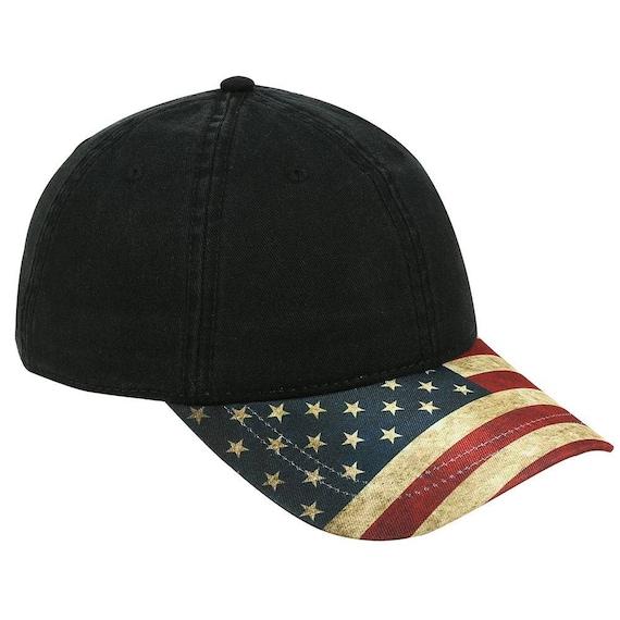 US American Flag Design Visor Cotton Twill 6 Panel Adjustable  a80f8e7503