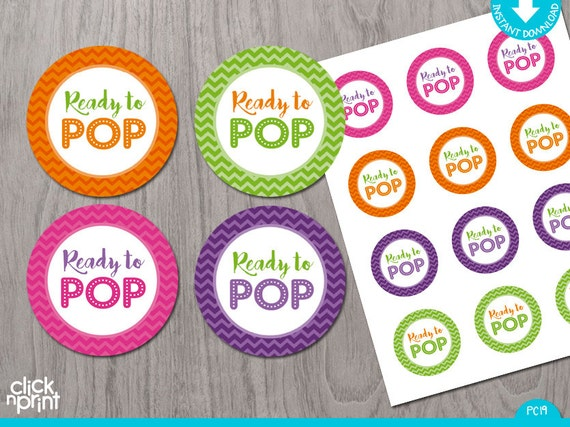 Ready To Pop Baby Shower Print Yourself Stickers