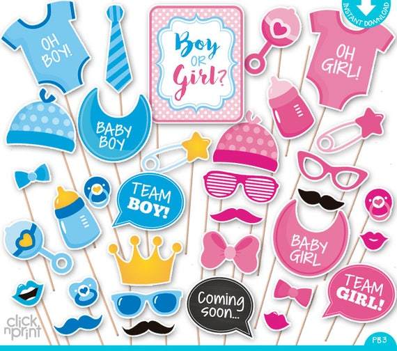 Gender Reveal Baby Shower Print Yourself Photo Booth Props Baby