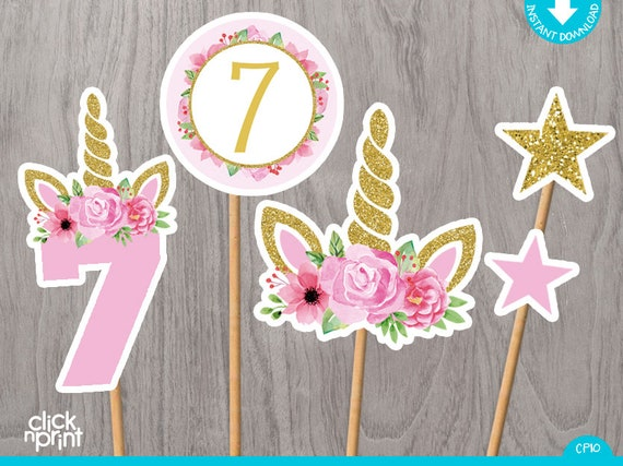 Unicorn 7th Birthday Centerpieces Print Yourself Printable