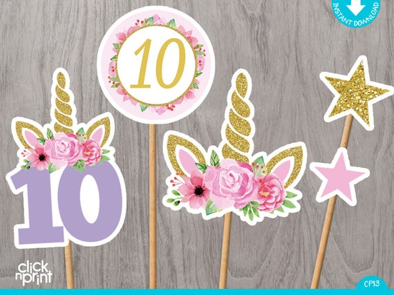 Unicorn 10th Birthday Centerpieces Print Yourself Printable Cake Toppers Party Decoration