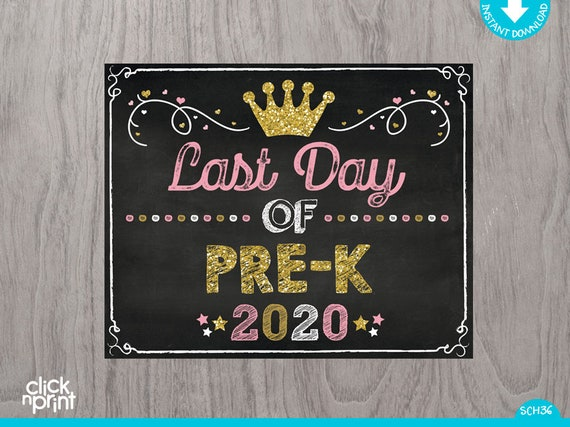Princess Last Day of Pre-K Sign Instant Download Print
