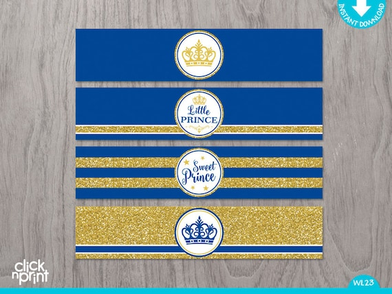 Prince Baby Shower Or Birthday Royal Blue Gold Glitter Print