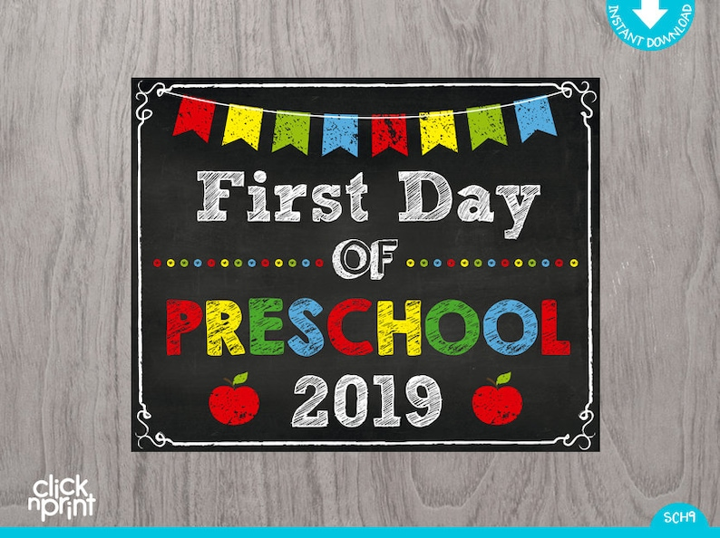 graphic about First Day of Preschool Sign Printable identified as 1st Working day of Preschool 2019 Signal Instantaneous Down load Print You, Very first Working day of Preschool Chalkboard Indication, Printable Very first Working day Preschool Signal