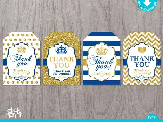 Prince Baby Shower Or Birthday Royal Blue Gold Glitter Print