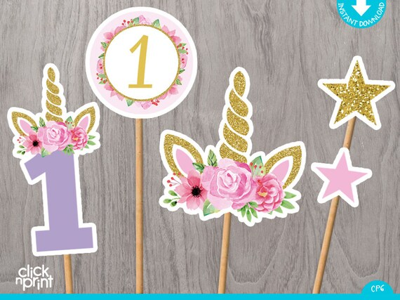 graphic about Unicorn Cupcake Toppers Printable known as Unicorn 1st Birthday Centerpieces Print Your self, Printable