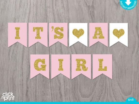 Pink And Gold Printable Baby Shower Girl Banner Printable Baby