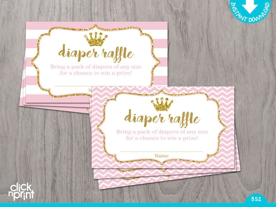 diaper raffle ticket pink and gold glitter print yourself princess