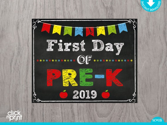 graphic relating to First Day of Pre K Sign Printable known as To start with Working day of PRE-K Indicator Prompt Obtain Print On your own, To start with Working day of Pre-k Chalkboard Indicator, Printable Initially Working day Pre k Indicator