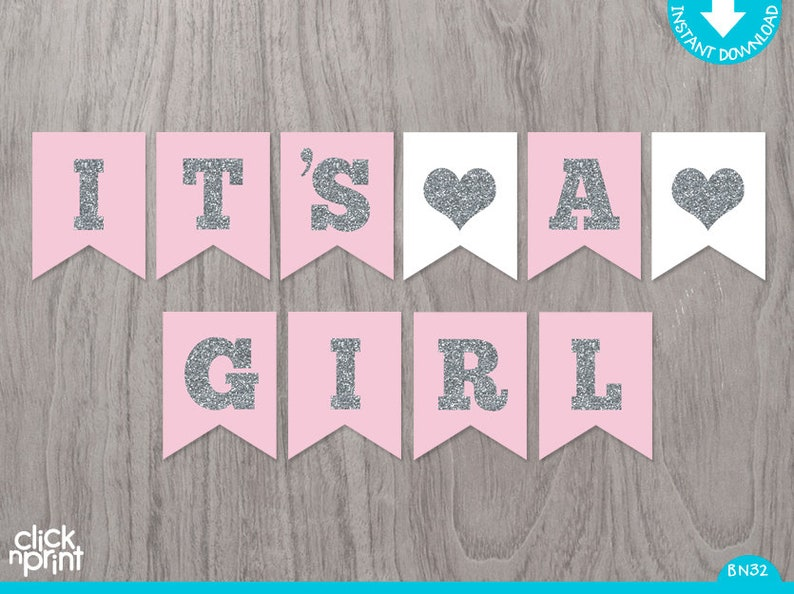 picture about Printable Baby Shower Banners named Purple and Silver Printable Boy or girl Shower Banner, Printable Little one Shower Banner, Its a Lady Crimson and Silver Banner, Lady Kid Shower Decor Do-it-yourself