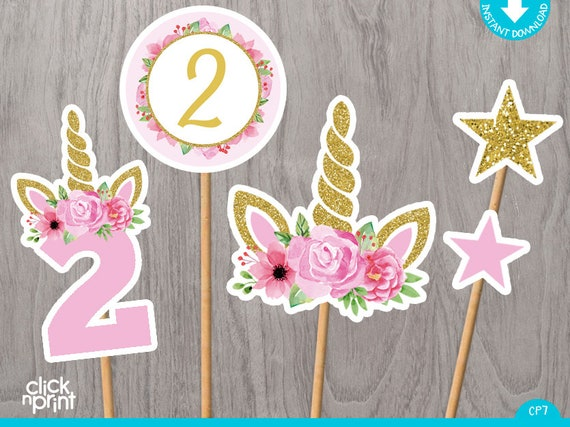 Unicorn 2nd Birthday Centerpieces Print Yourself Printable