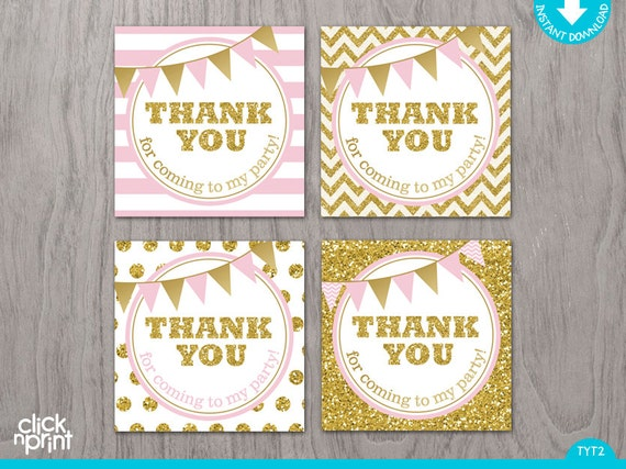 Vintage Party Tags Princess Party Thank You Tags Treat Tags Gold And Pink Thank you Tags Number Pink /& Gold Favor