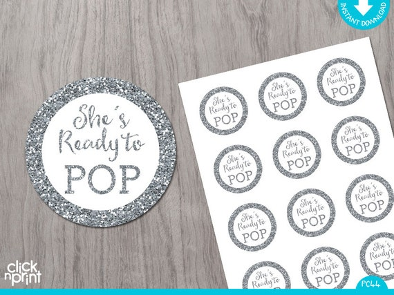 Shes Ready To Pop Gold Glitter Print Yourself Instant Download