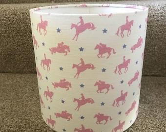 Handmade lampshade in Robin Roadnight Candyfloss horses. 20cm