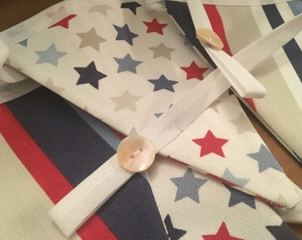 Stars and Stripes bunting, in bright red, and blue