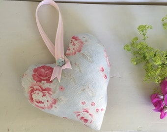 Beautiful decorative heart in Peony and Sage Charlotte with ribbon hanger.