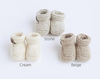 Gender Neutral Baby Booty, Knitted Baby Booties, Unisex Baby Shoes, Pregnancy Announcement or Baby Reveal Gift