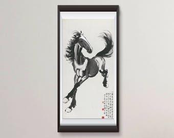 Arte chino, caballo de Xu Beihong FINE ART PRINT, un retrato de la raza ocho impresiones de arte chino, pintura China, decoración para el hogar