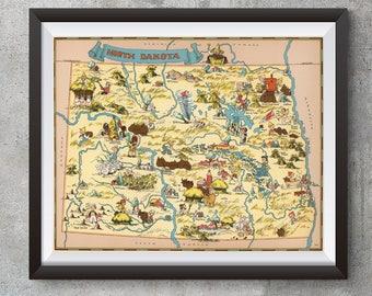 Vintage North Dakota Map from 1935, old North Dakota map Print, old USA map Print Art Poster,Office Decor, Home Decor Print