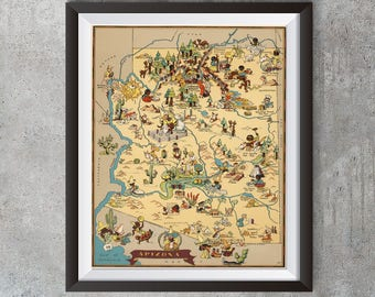 Vintage Arizona Map from 1935, old Arizona map Print, old USA map Print Art Poster,Office Decor, Home Decor Print