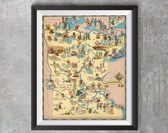 Vintage Minnesota Map from 1935, old Minnesota map Print, old USA map Print Art Poster,Office Decor, Home Decor Print