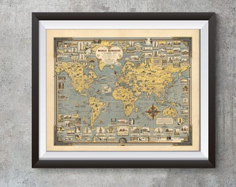 Pictorial Map of South Africa Wall Art Poster Print Decor Vintage History Repro