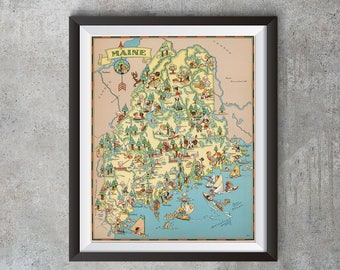 Vintage Maine Map from 1935, old Maine map Print, old USA map Print Art Poster,Office Decor, Home Decor Print