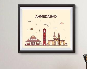 Ahmedabad Map Etsy
