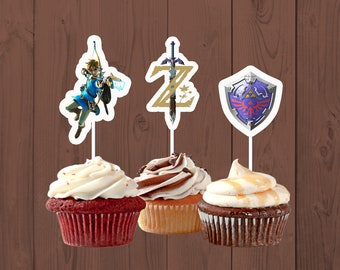 Legend Of Zelda Cupcake Toppers Birthday Party Breath The Wild