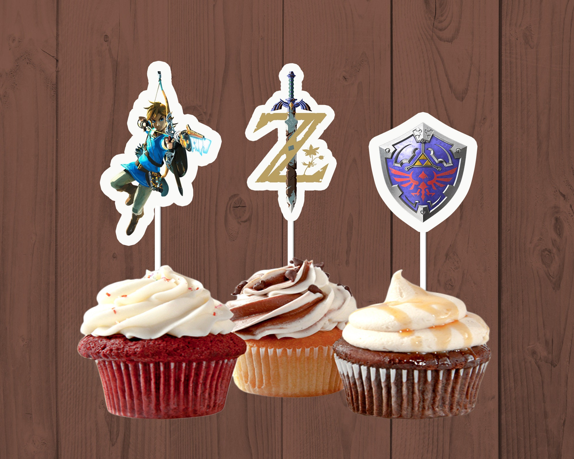 Legend Of Zelda Cupcake Toppers Birthday Party Breath