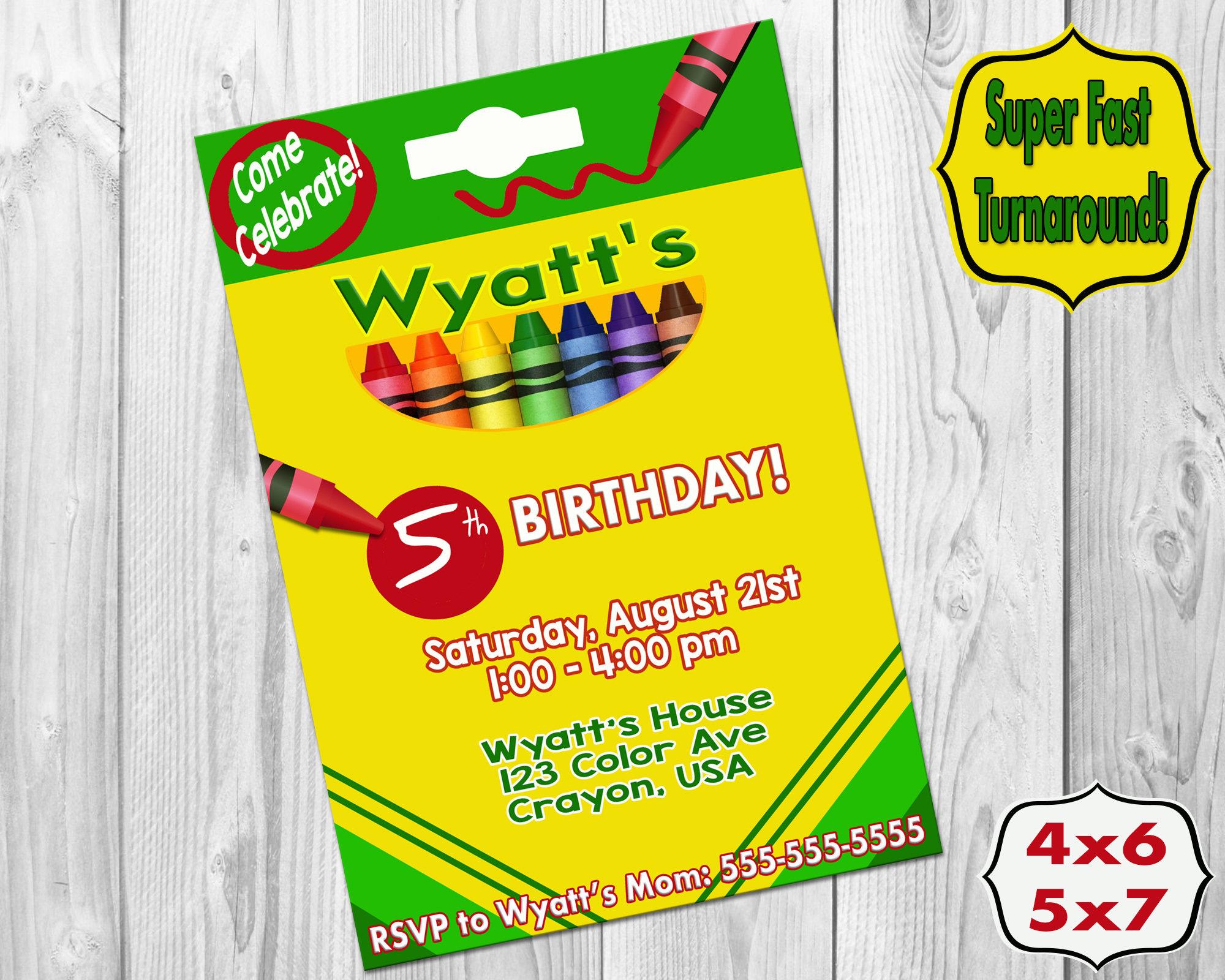 Crayon Invitations Crayon Birthday Party Printable Art | Etsy
