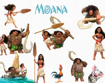 DISNEY MOANA CLIPART, 23 High Quality Png Images with Transparent Backgrounds, 300 dpi Clip Art