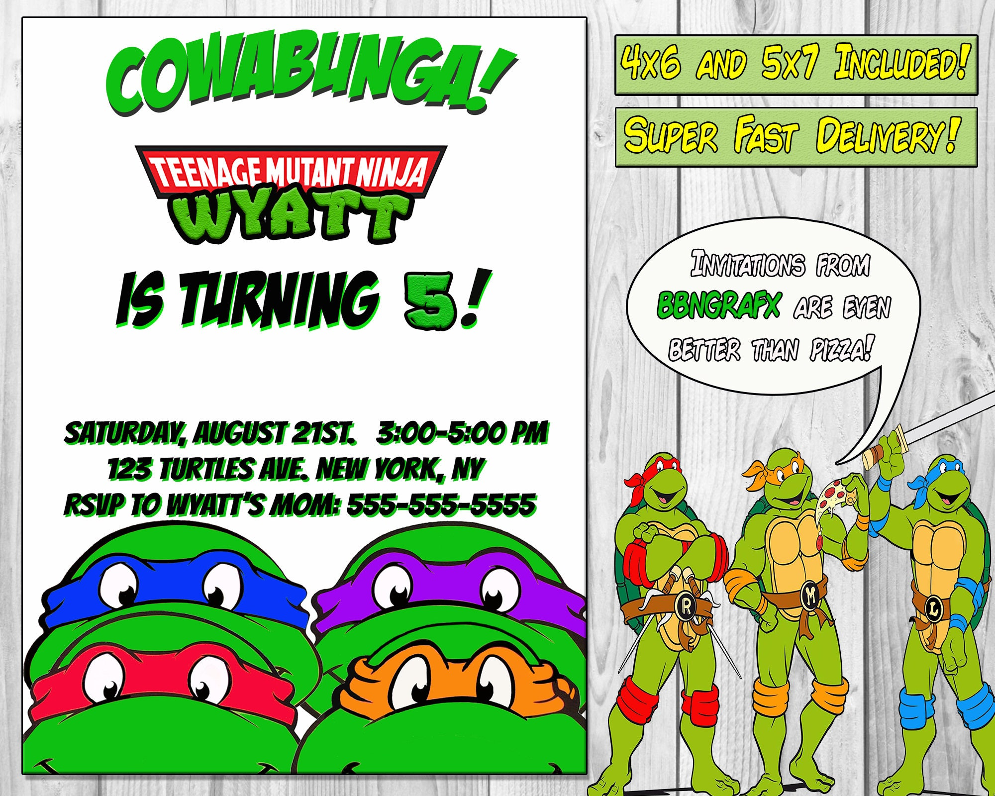 Teenage Mutant Ninja Turtles Invitation TMNT Invitation | Etsy