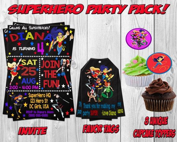 DC SuperHero Girls Birthday Party Invitation Invite Wonder