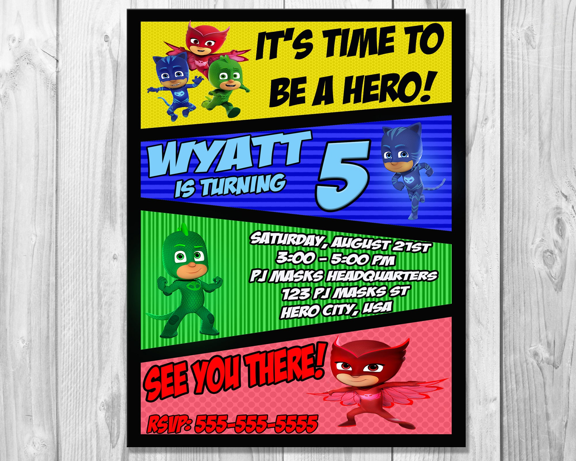 PJ Masks Invitation Birthday Party Invite
