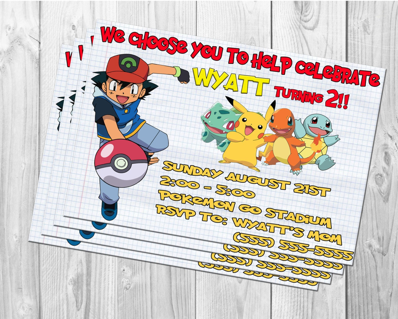 POKEMON Birthday Invitations Pokemon Invite Pokemon | Etsy
