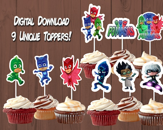 PJ Masks Birthday Party Cupcake Toppers Instant